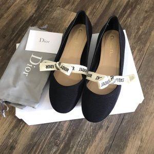 Christian Dior fabric&ribbon flat